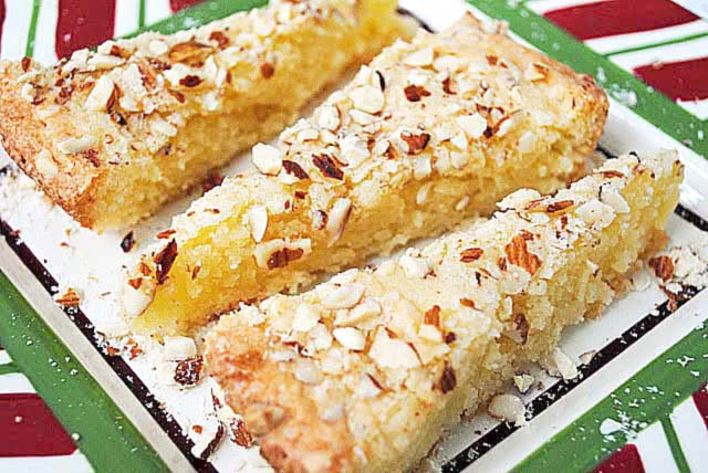 Swedish Almond Cake--more like a bar cookie than a cake. Crispy on the outside and chewy on the inside. Great almond flavor!