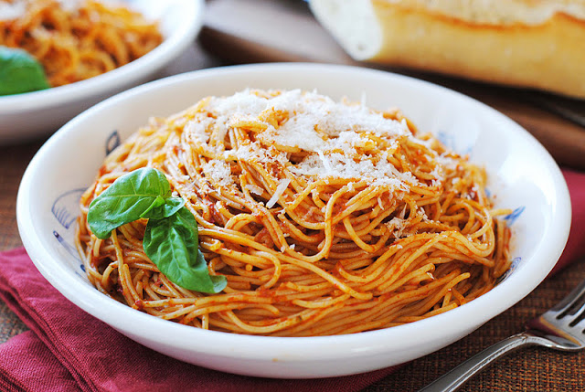 Red Pepper Pesto over Angel Hair Pasta