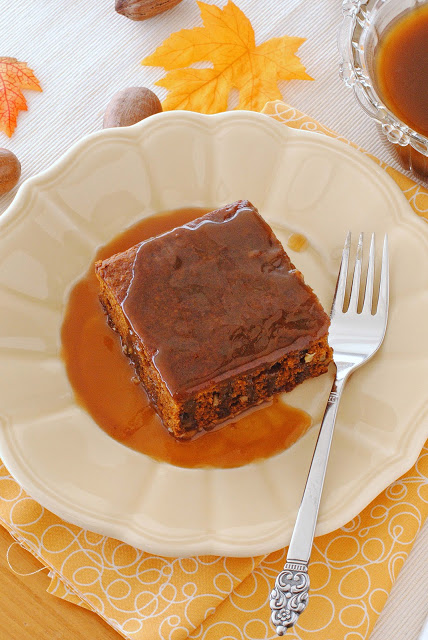 Layered pumpkin gingerbread with hot caramel sauce