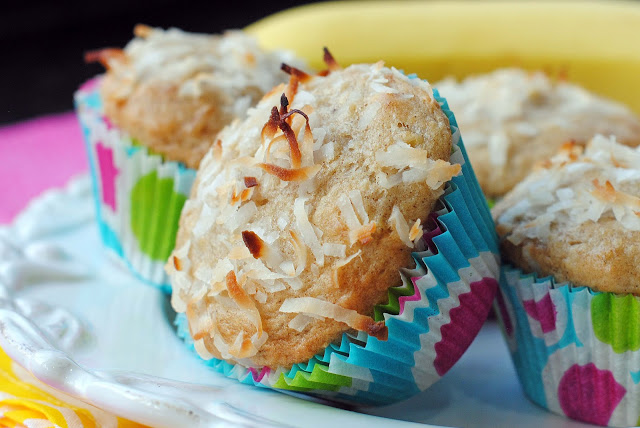 Banana Muffins with Toasted Coconut and Macadamias