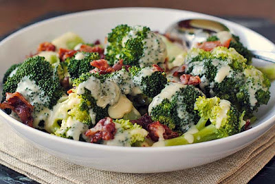 Steamed Broccoli with Cheese Sauce and Pancetta