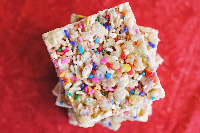 Cake Batter Crispy Rice Cereal Treats