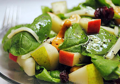 Apple-Pear Salad with Lemon Poppy Seed Dressing