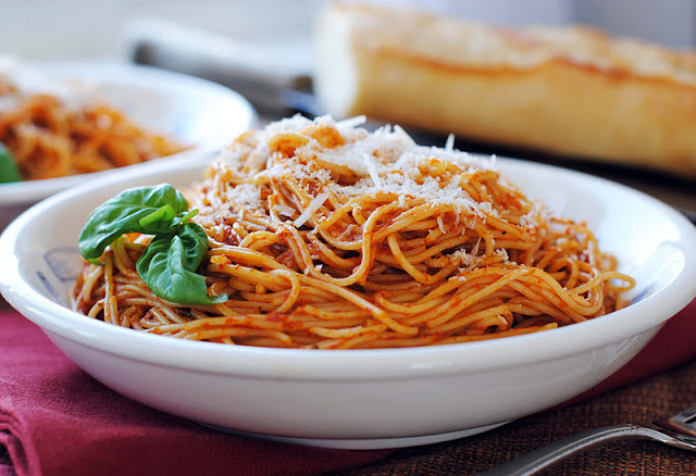 Red Pepper Pesto with Angel Hair Pasta