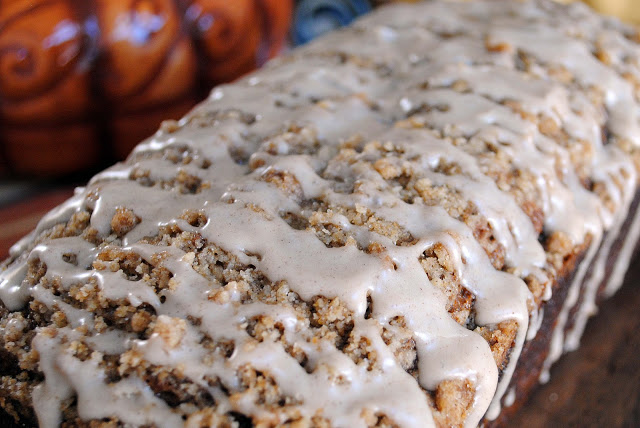 Pumpkin Bread with Streusel Crumble and Maple Glaze