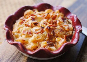 Smoked Gouda, Bacon, and White Truffle Butter Mac and Cheese
