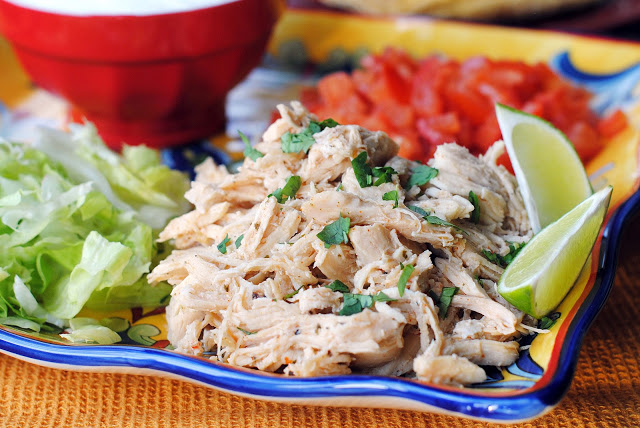 Taqueria-style slow cooker shredded chicken