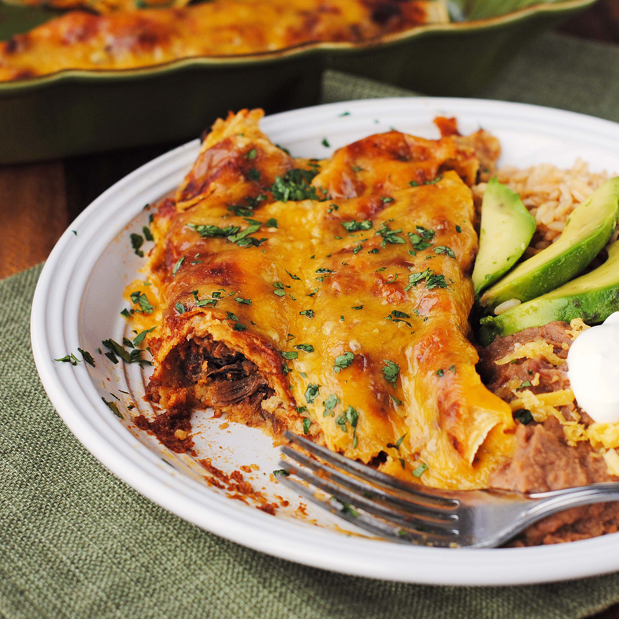 Shredded Beef Enchiladas with the BEST Homemade Enchilada Sauce