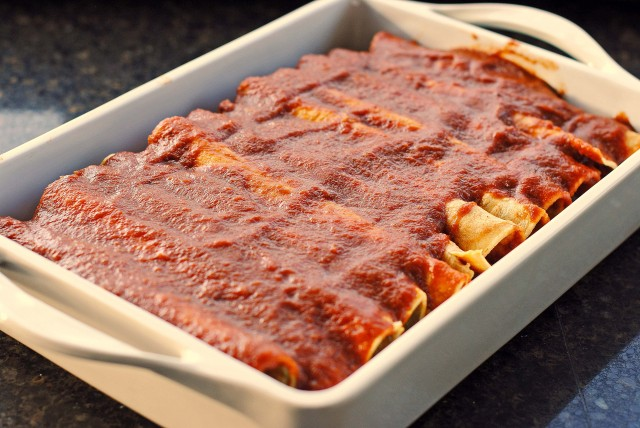 Shredded Beef Enchiladas with the BEST Homemade Red Enchilada Sauce