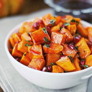 Roasted Sweet Potatoes with Pomegranate Glaze