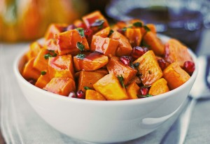 Roasted Sweet Potatoes with Spiced Pomegranate Molasses