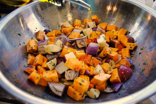 Roasted Butternut Squash, Onions, and Red Potatoes with Fresh Herbs