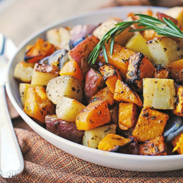 Roasted Butternut Squash Onions And Red Potatoes With Fresh Herbs