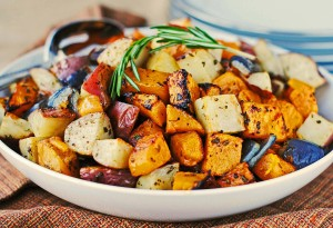Roasted Butternut, Red Potatoes and Onions with Fresh Herbs