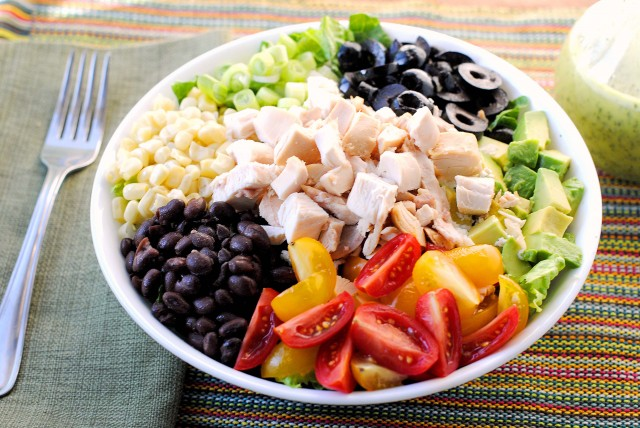 Southwestern Chicken Chopped Salad with Cilantro Lime Vinaigrette