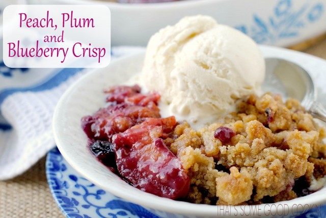 Peach, Plum and Blueberry Crisp
