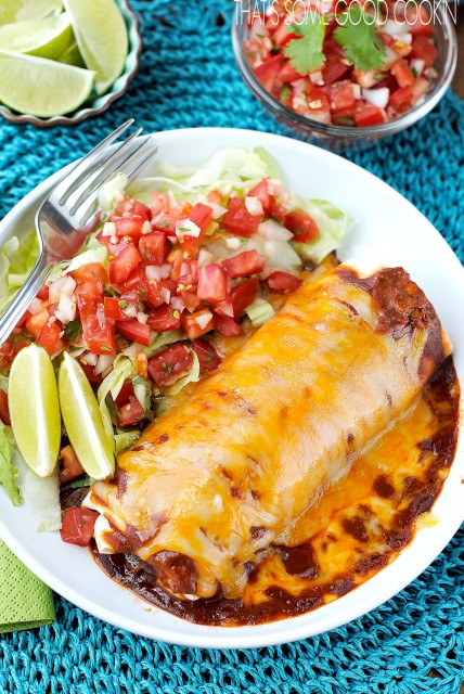 Smothered Burritos | that's some good cookin'--burrito filled with seasoned ground beef, beans and rice, then topped with spicy sauce and lots of cheese
