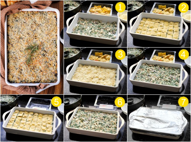 Chicken-Spinach Cheese-Stuffed Ravioli Casserole