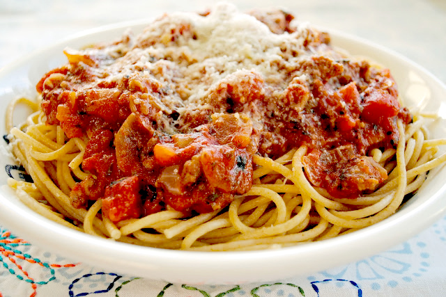 Spaghetti with Italian Sausage and Fire Roasted Tomato Sauce