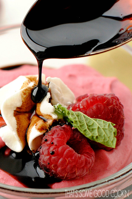 Raspberry Mousse with a Balsamic Reduction